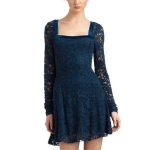 Free People Flirt For You Teal Lace Dress Velvet L